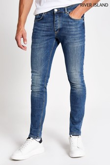 River Island Blue Medium Skinny Texas Martin Rustic Jeans