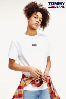 Tommy Jeans T-Shirt mit kleinem, mittigem Logo, Weiß