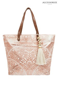 Accessorize Gold Kea Printed Beach Tote Bag