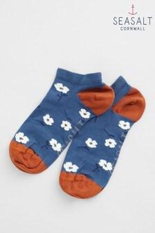 Seasalt Blue Womens Bamboo Arty Trainer Socks