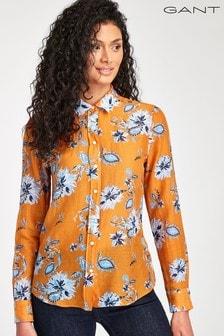 Chemise GANT en soie et cotonmotif floral style cachemire orange pour femme