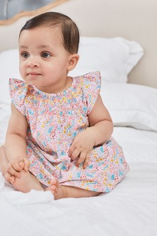 Ditsy Smock Dress With Knickers (0mths-2yrs)