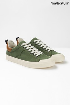 White Stuff Green Mens Canvas Trainers
