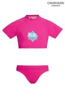 Calvin Klein Pink CK Wave Bikini Set