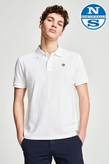 North Sails Kurzärmeliges Polo-Shirt mit Logo, Weiß