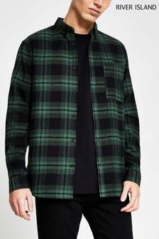 River Island Green/Dark Black And Pine Check Shirt