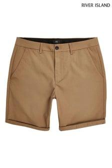 River Island leichte Vienna Skinny Shorts, Braun