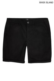 River Island Vienna Skinny Shorts, Schwarz