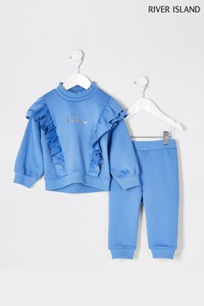 River Island Blue Frill Scuba Set