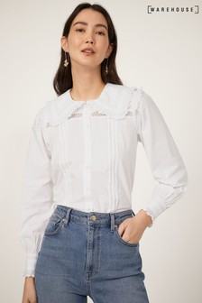 Warehouse White Cotton Frill Collar Shirt