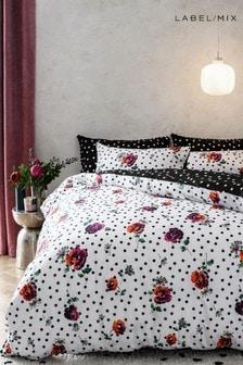 Mix/Caroline Issa 100% Cotton Digital Floral Duvet Cover and Pillowcase Set
