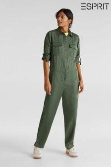 Combi-pantalon Esprit avec poches et boucles style militaire vert