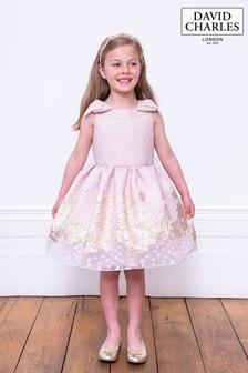 David Charles Pink Brocade Party Dress