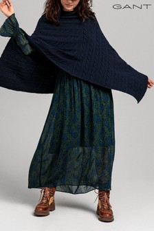 GANT Blue Lambswool Cable Poncho