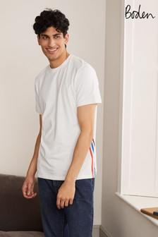 Boden White Stripe Detail T-Shirt