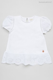 Angel & Rocket White Broderie Sleeve Top