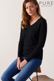 Pure Collection Black Cashmere Straight Fit V Neck Sweater