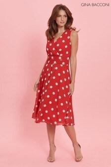 שמלה אדומה שלGina Bacconi דגםSaphira מבד שיפון מנוקד