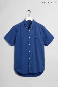 Chemise à manches courtes GANT bleue imprimée classique en drap fin