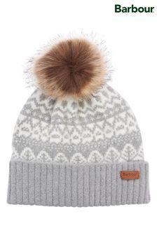 כובע גרב אפורעם פונפוןדגםAlpine Fairisle שלBarbour®