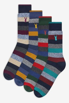 Stripe Cushioned Heavyweight Socks Four Pack