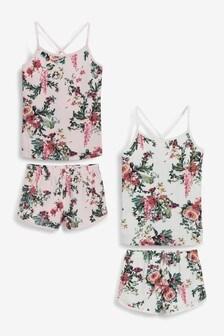 Kurzpyjama aus Camisole und Shorts mit Blumenmuster, 2er-Pack (3-16yrs)