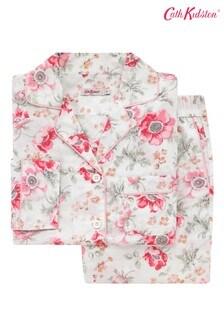 Set pijama CathKidston® Lindfield Meadow crem cu pantaloni lungi