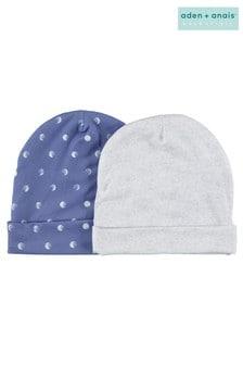 aden + anais Luna Geschenkset mit Baby-Mützen im Zweierpack, Blau