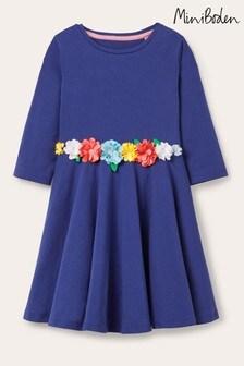 Boden Flutter Twirly Kleid mit Blumendesign, Blau