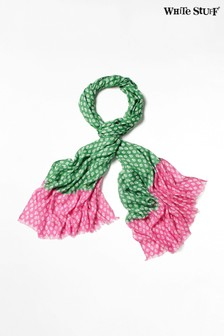 White Stuff Green Verity Printed Viscose Scarf