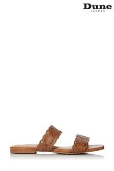 Dune flache Lauretta Pantoletten aus Leder mit Laser-Zierausschnitten, Gelbbraun