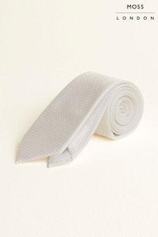 Biela štruktúrovaná kravata Moss London