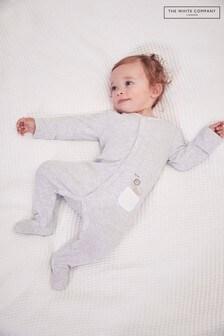 The White Company - Witte Peekaboo babypyjama met zakje en leeuwenprint