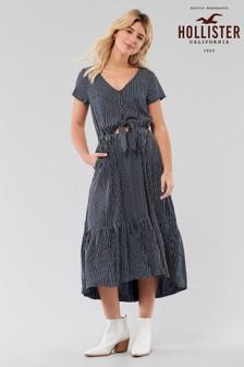 Hollister Navy Ditsy Midi Dress