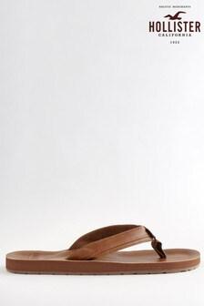 Hollister Brown Leather Flip Flops