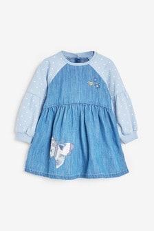 Rochie din denim cu broderie și mâneci raglan (3 luni - 7 ani)