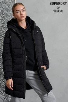 Superdry Black Longline Boston Microfibre Jacket