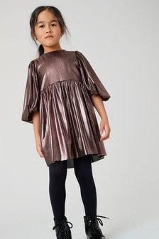 Платье с пышными рукавами и эффектом металлик (3-16 лет)