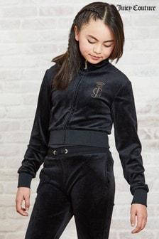 Велюровая куртка с воротником-стойкой и стразами Juicy Couture Luxe