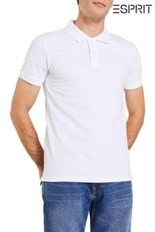 Esprit White Basic Pique Polo