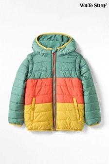 White Stuff Teal Kids Colourblock Padded Coat/Gilet