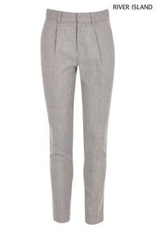 Pantalon River Island Joy gris plissé coupe fuselée