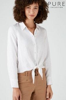 Pure Collection White Linen Tie Hem Shirt