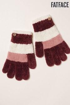 Różowe rękawiczki szenilowe w paski FatFace