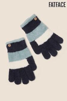 Niebieskie rękawiczki szenilowe w paski FatFace