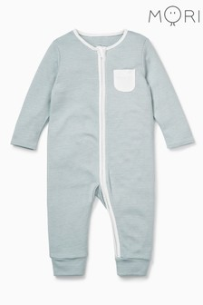 MORI Blue Zip-Up Sleepsuit