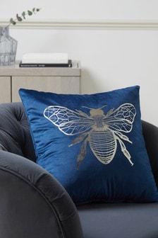 Navy Blue Metallic Bee Square Cushion