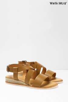 White Stuff Tan Sofia Jute Mini Wedge Sandals