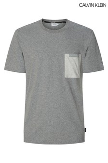 Calvin Klein Grey Contrast Pocket T-Shirt
