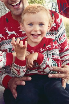 Matching Family Kids Christmas Rudolph Fairisle Pattern Jumper (3 мес.-16 лет)